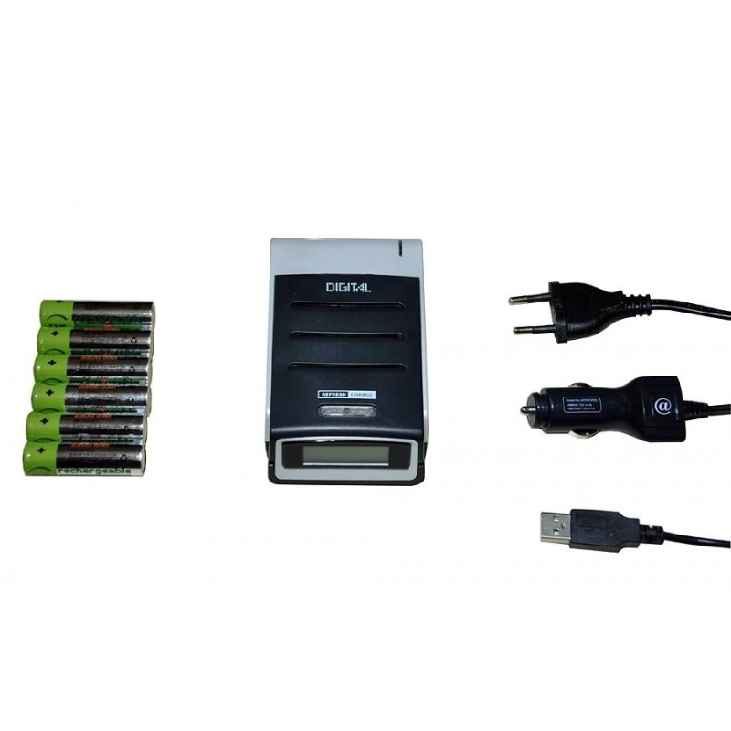 Kit Chargeur 230V+Allume cigare + 4 Accus LR6 - Bersub